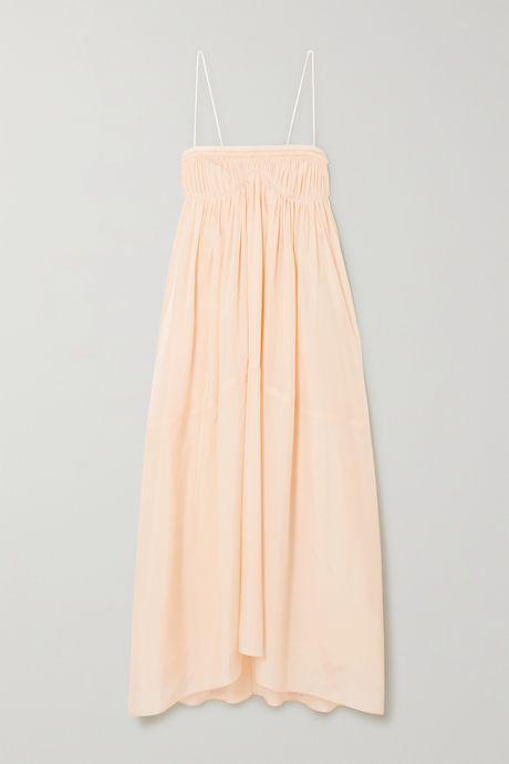 Peach Ruched silk gown | Chloé mz7qIK