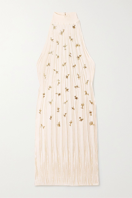 Chloé Robe en soie et coton mélangés côtelés à ornements