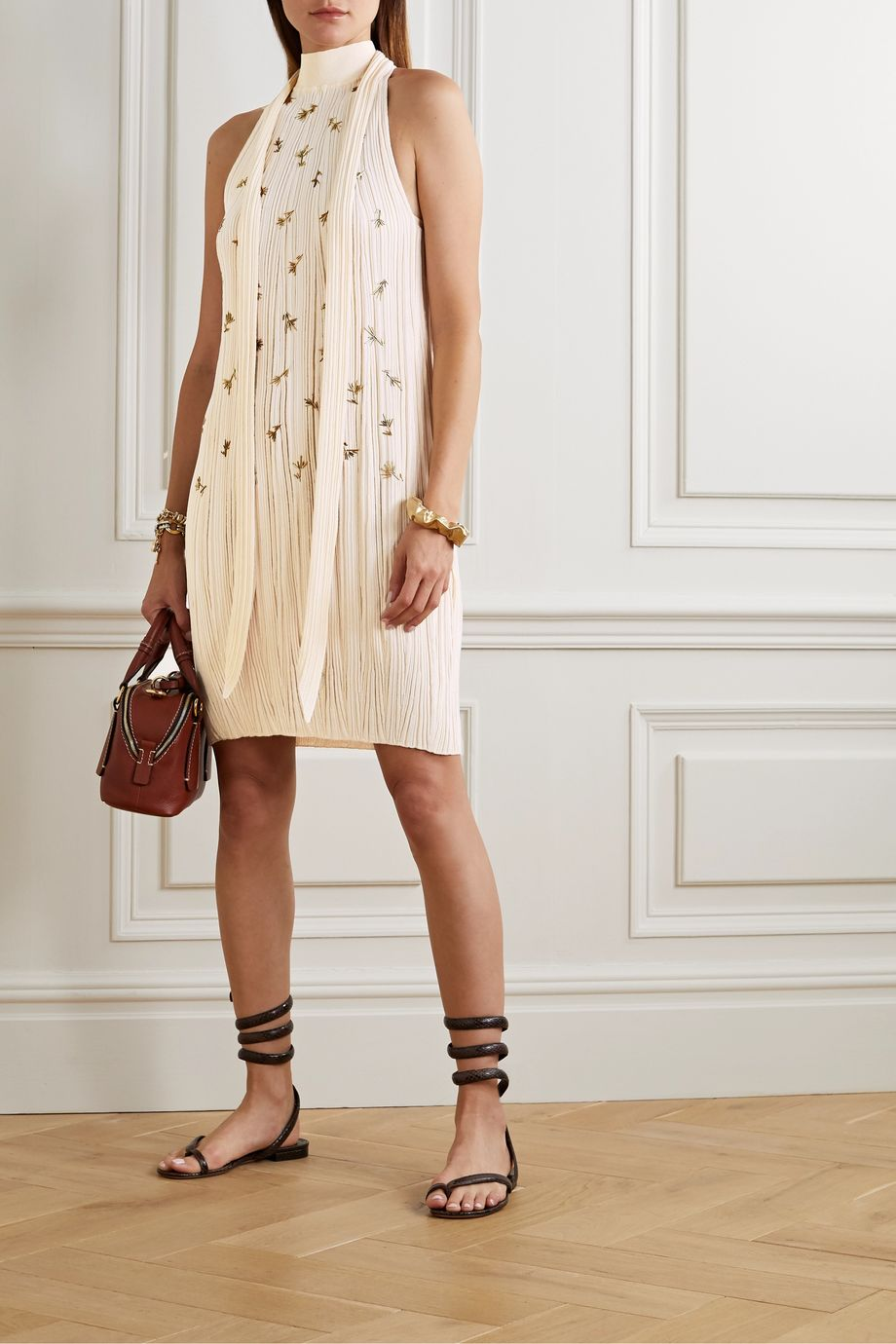 Chloé Embellished ribbed silk and cotton-blend dress