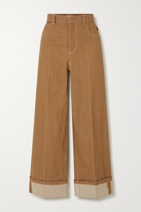 Brown Topstitched wide-leg jeans | Chloé pN1974