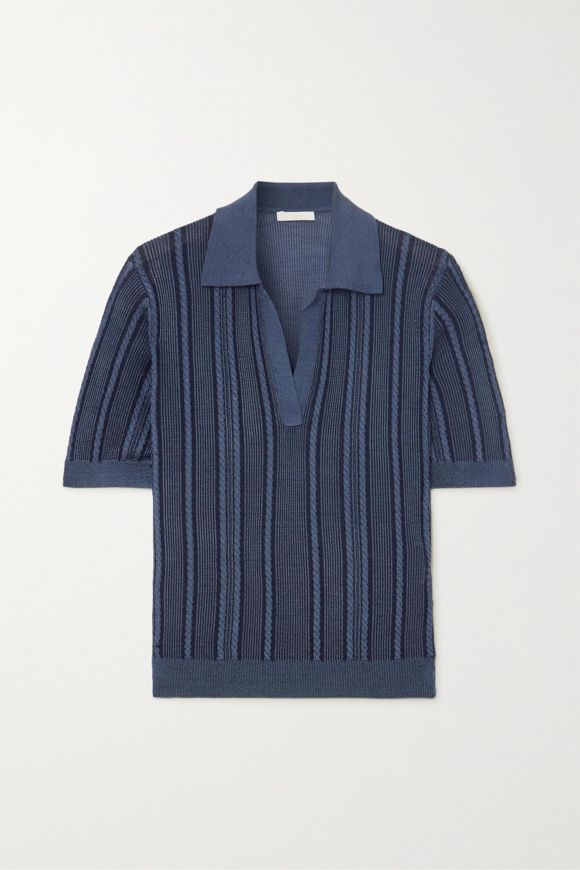 Chloé 绞花针织真丝 Polo 衫