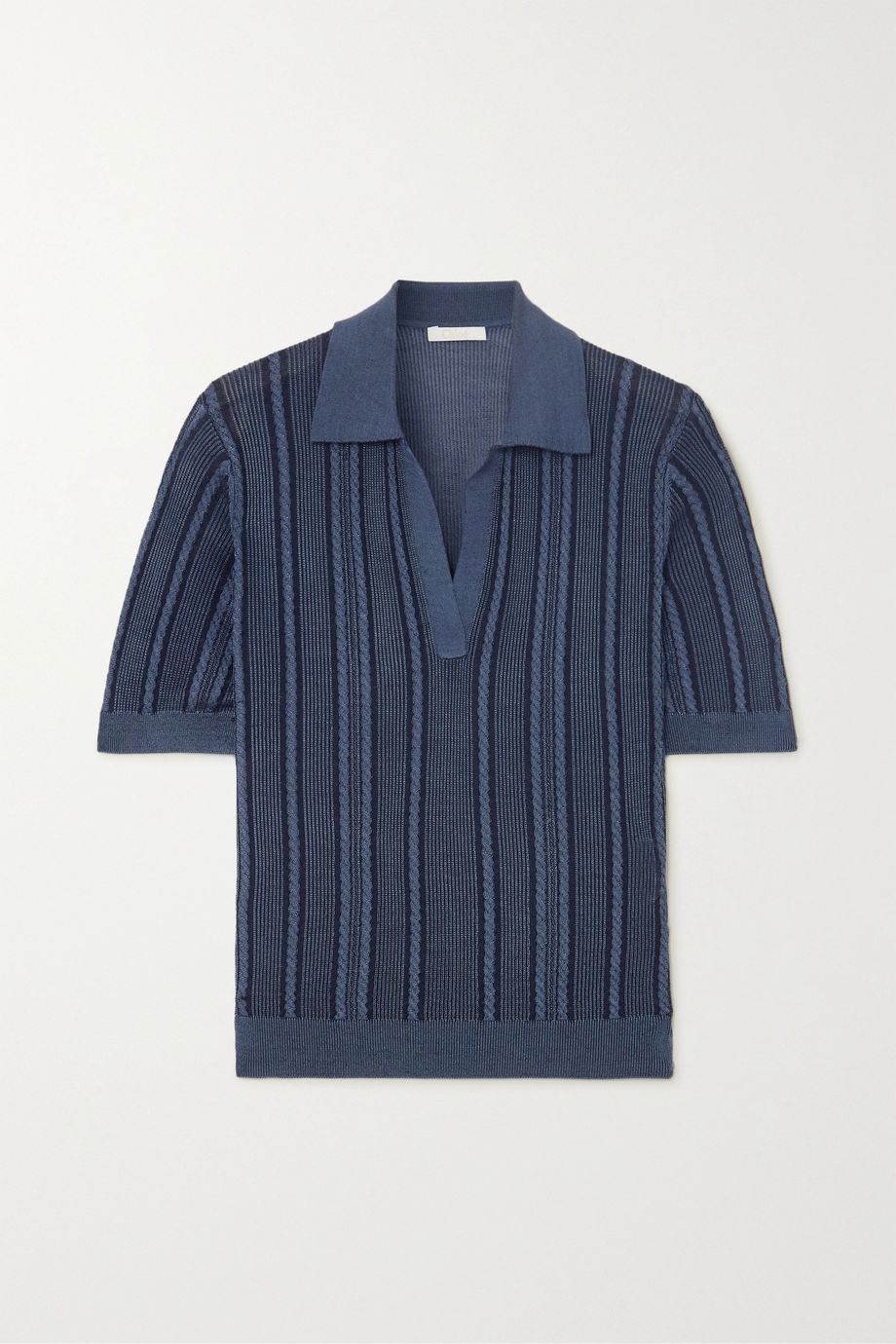 Chloé Cable-knit silk polo shirt