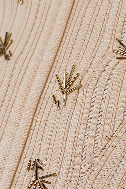 Chloé Pull en soie et coton mélangés côtelés à perles