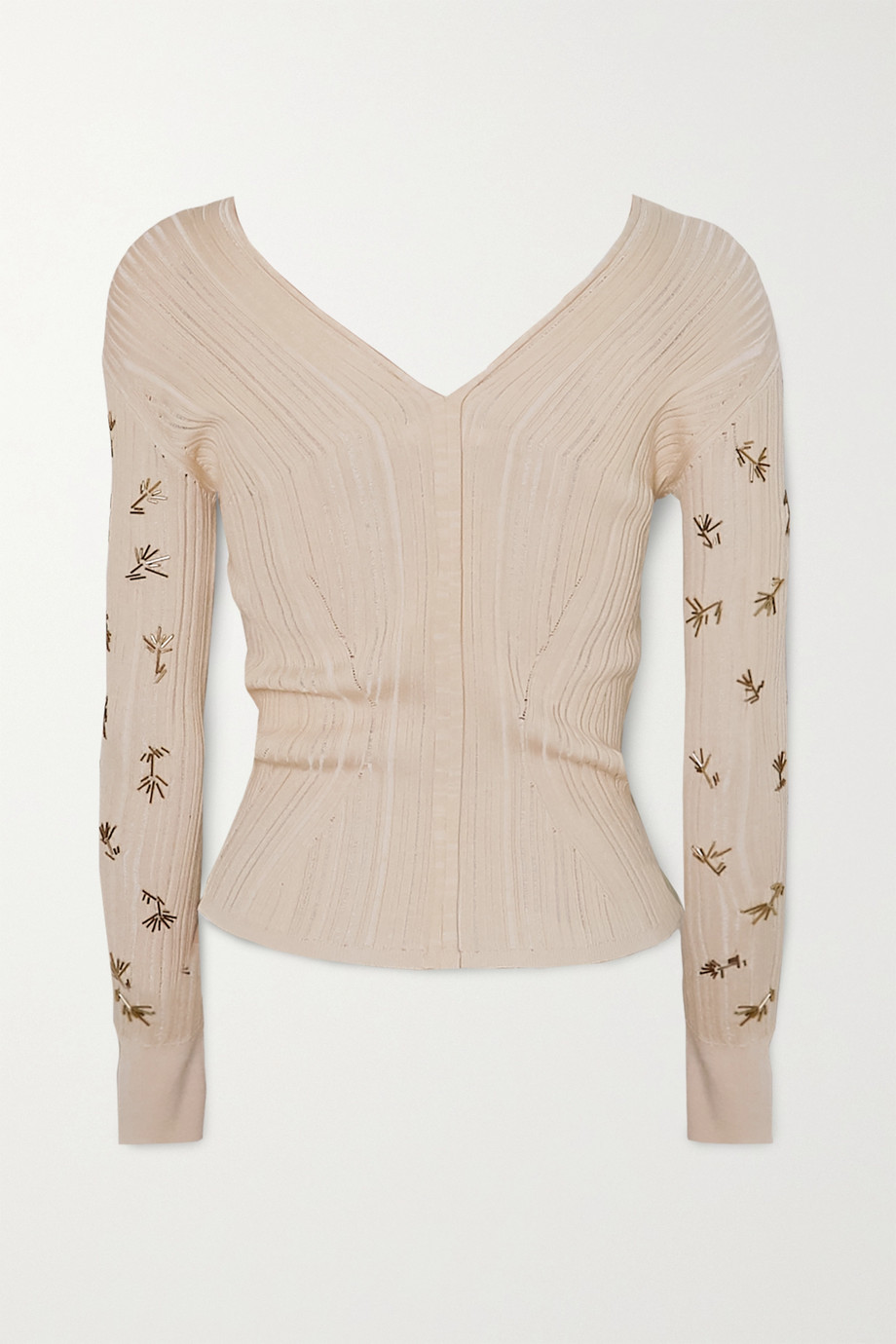 Chloé Embellished ribbed silk and cotton-blend sweater