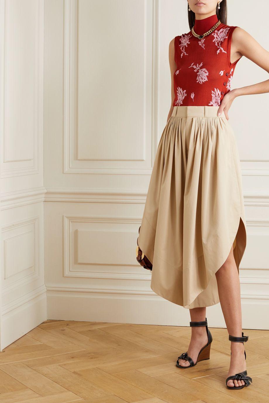 Chloé Pleated cotton-poplin culottes
