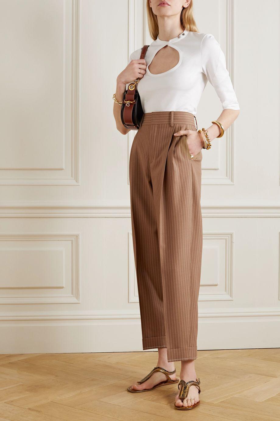 Chloé Pantalon fuselé en laine à fines rayures