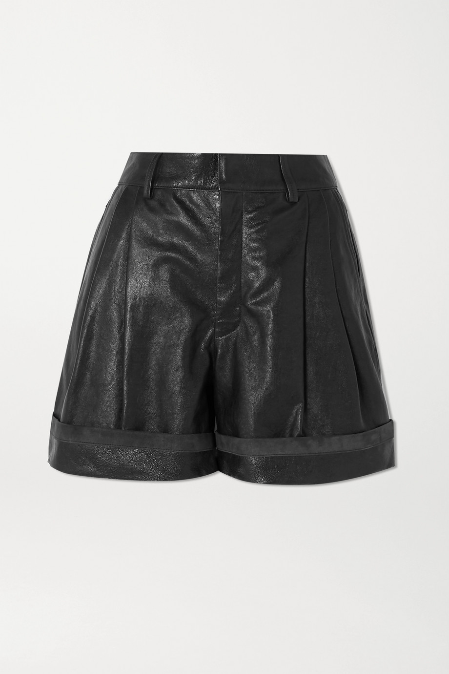 Chloé Pleated leather shorts
