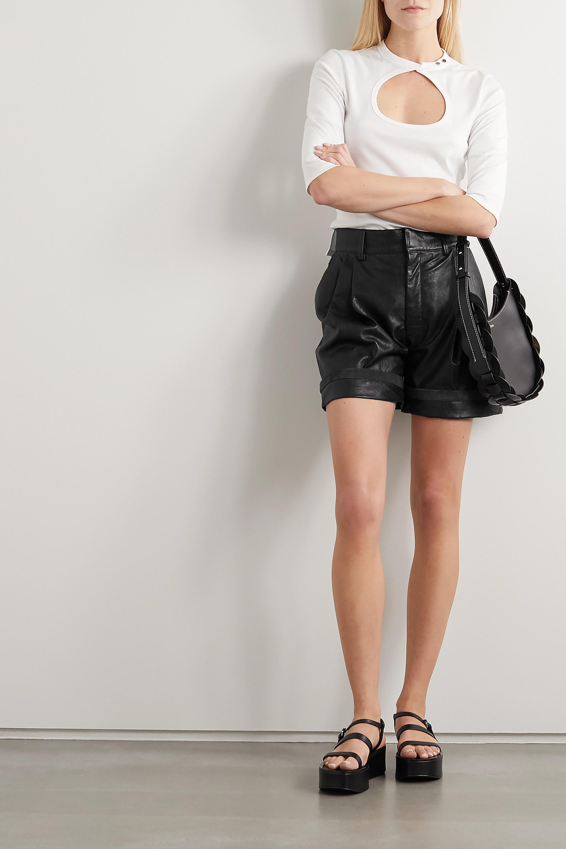 Chloé Pleated leather shorts