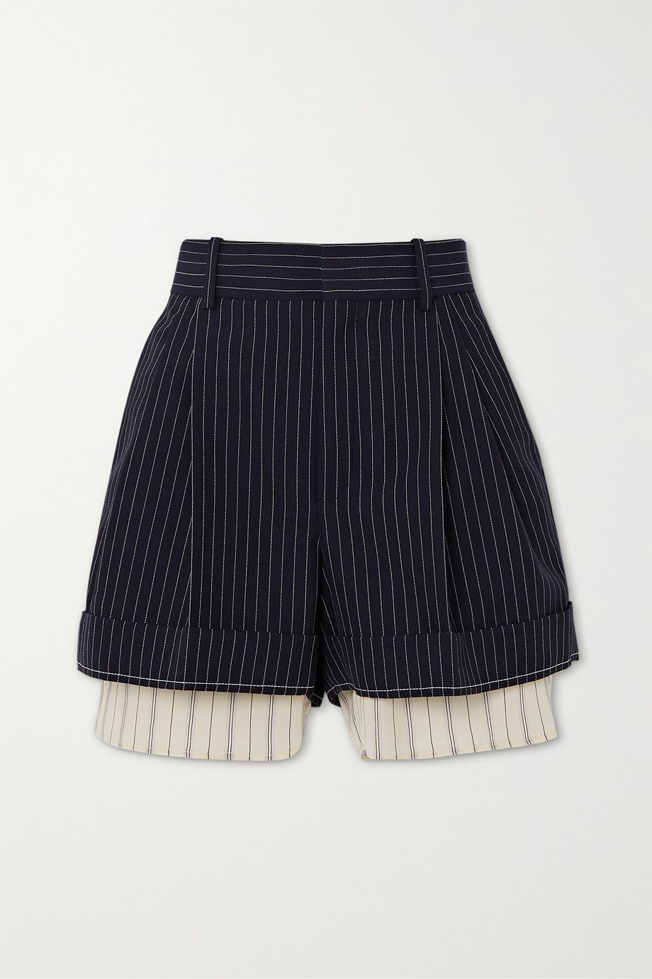 Chloé Layered pinstriped grain de poudre wool and silk shorts