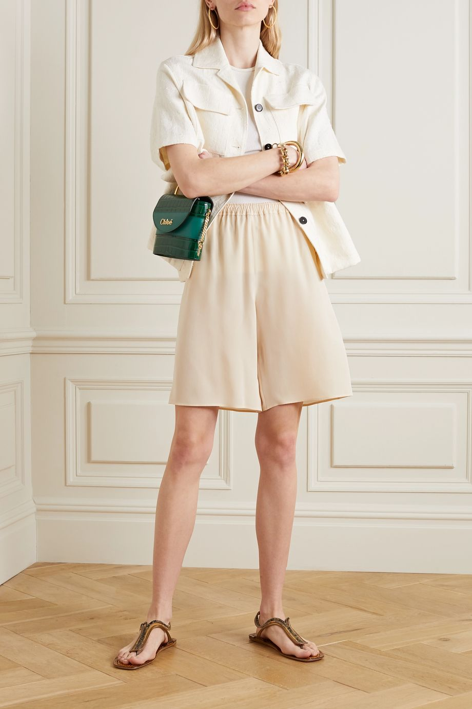 Chloé Silk-crepe shorts