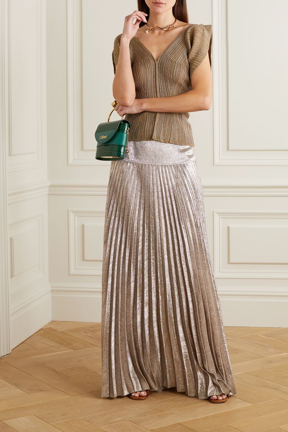 Chloé Metallic plissé silk-blend maxi skirt
