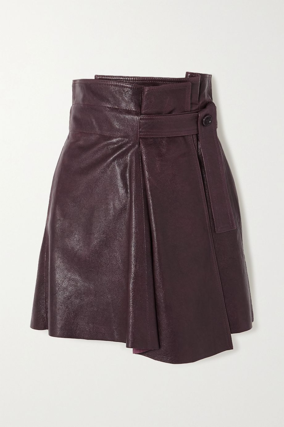 Chloé Belted pleated leather wrap mini skirt