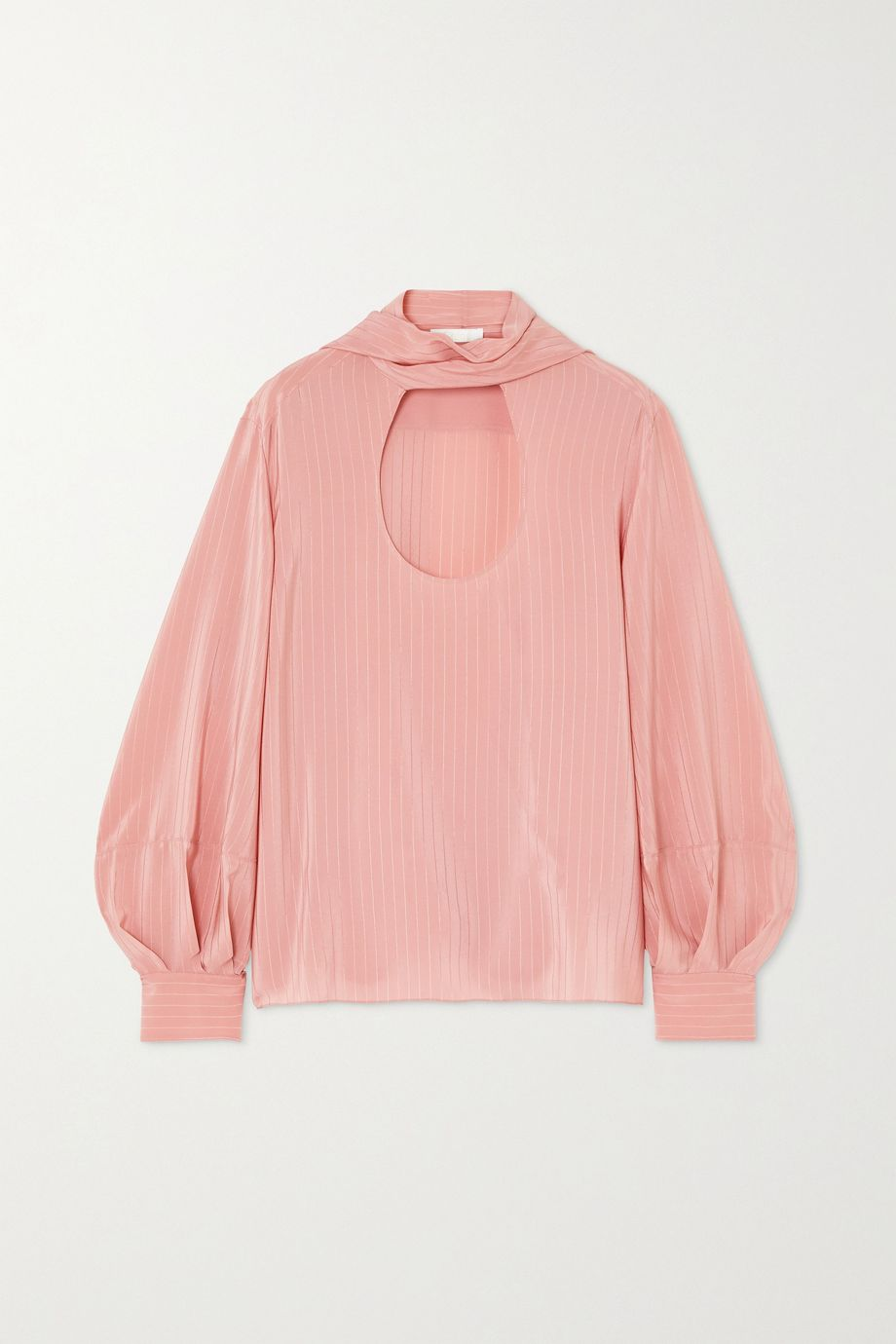 Chloé Tie-neck pinstriped silk blouse