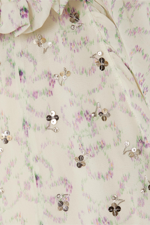 Chloé Haut en georgette de soie à imprimé fleuri, ornements et liens