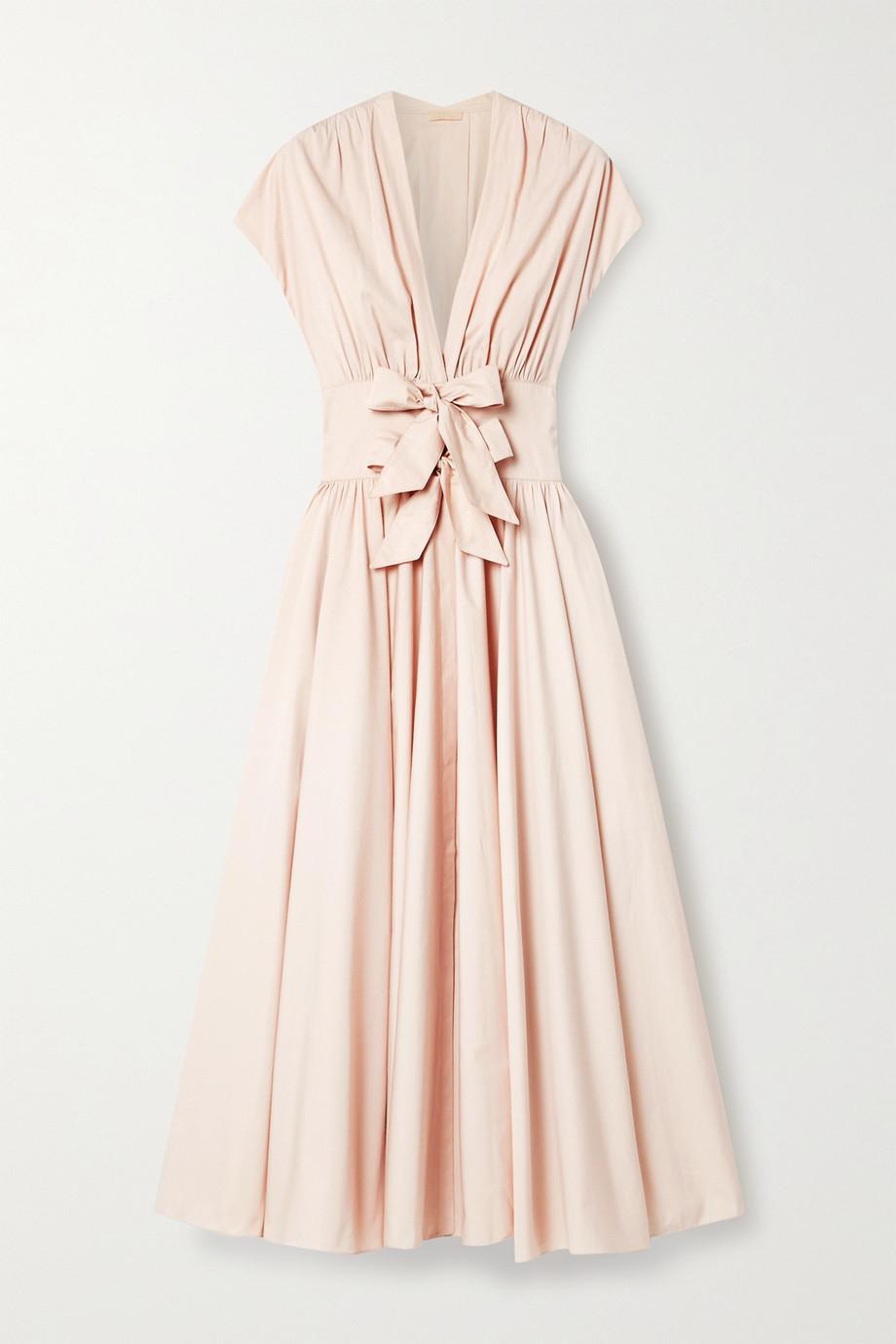 Alaïa Bow-embellished cotton-poplin midi dress