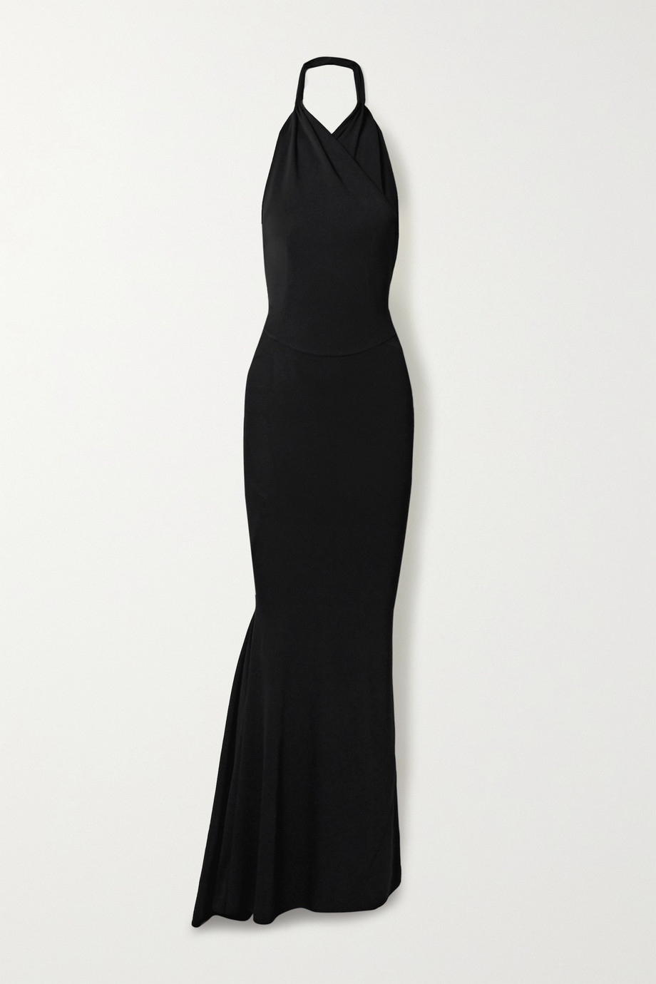 Alaïa Open-back wrap-effect stretch-knit halterneck gown