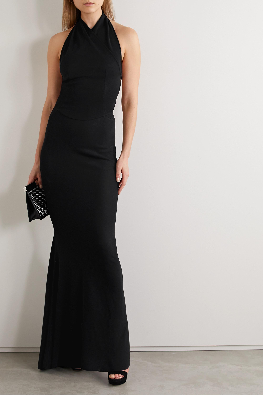 Alaïa Open-back wrap-effect stretch-knit halterneck gown