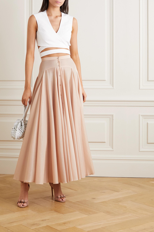 Alaïa Pleated cotton-voile maxi skirt
