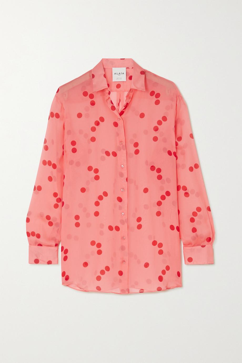 Alaïa Edition polka-dot silk-chiffon blouse