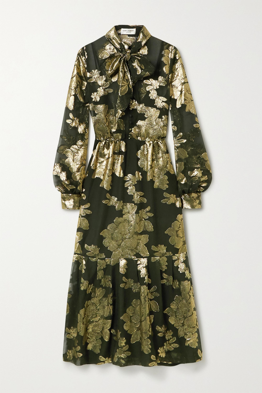SAINT LAURENT Pussy-bow metallic floral-embroidered silk-blend chiffon midi dress