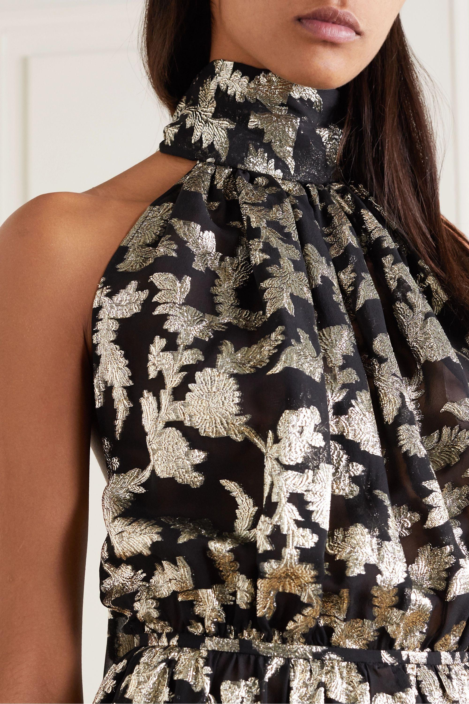 SAINT LAURENT Metallic floral silk and Lurex-blend chiffon halterneck dress