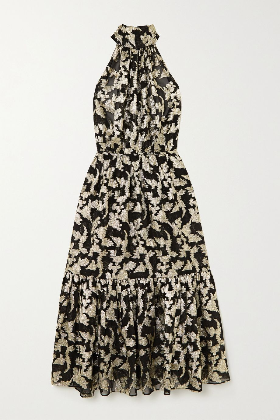 SAINT LAURENT Metallic floral silk and Lurex-blend chiffon halterneck dress