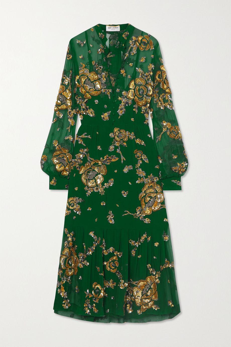 SAINT LAURENT Tie-detailed embellished silk-mousseline midi dress