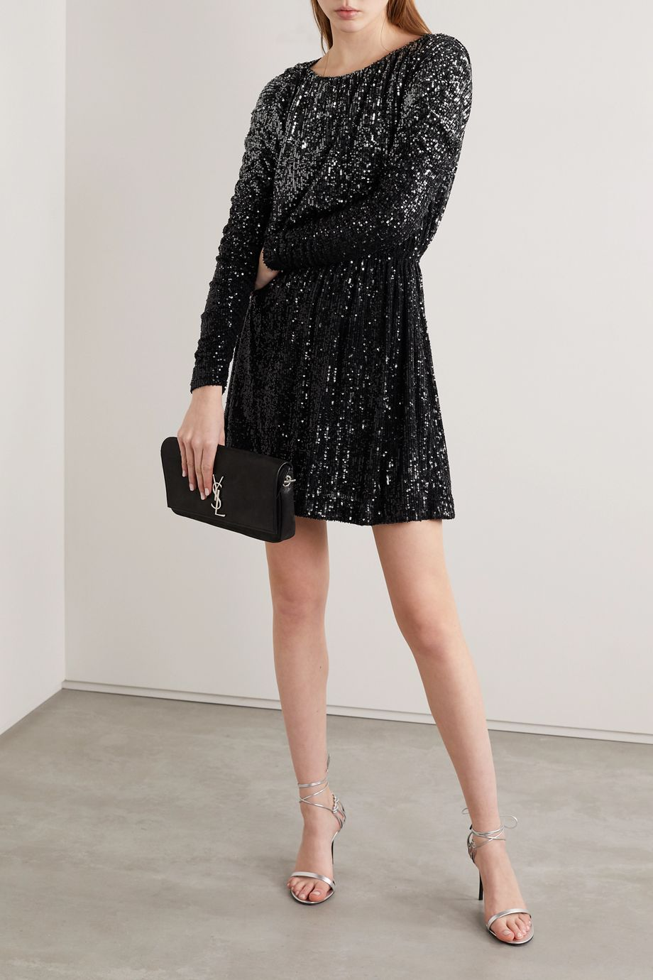 SAINT LAURENT Dégradé sequined stretch-knit mini dress