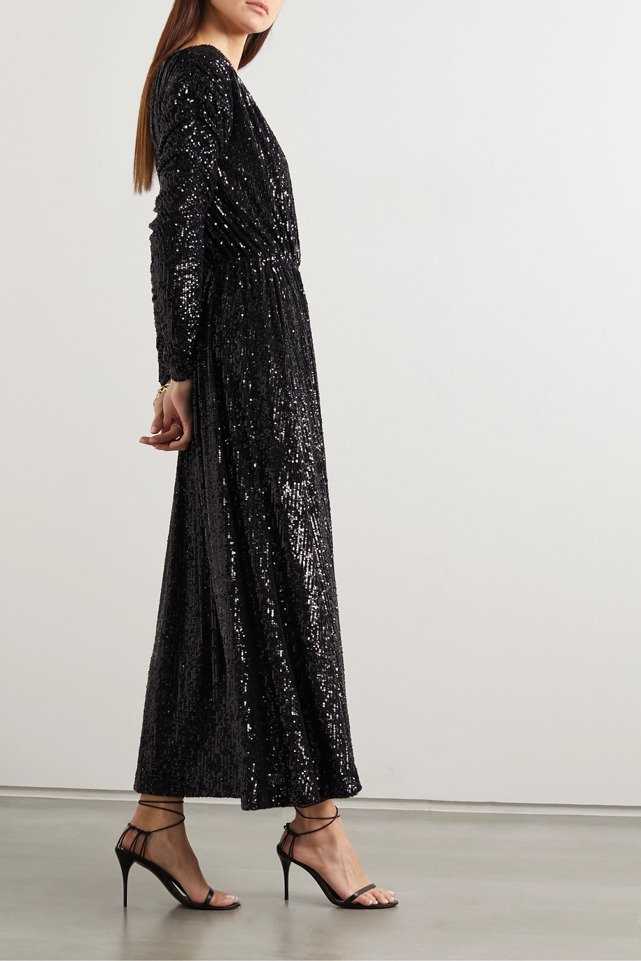 SAINT LAURENT Sequined jersey maxi dress