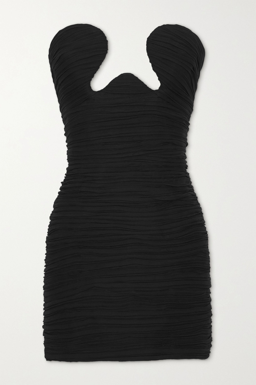 SAINT LAURENT Mini-robe bustier froncée en georgette de soie