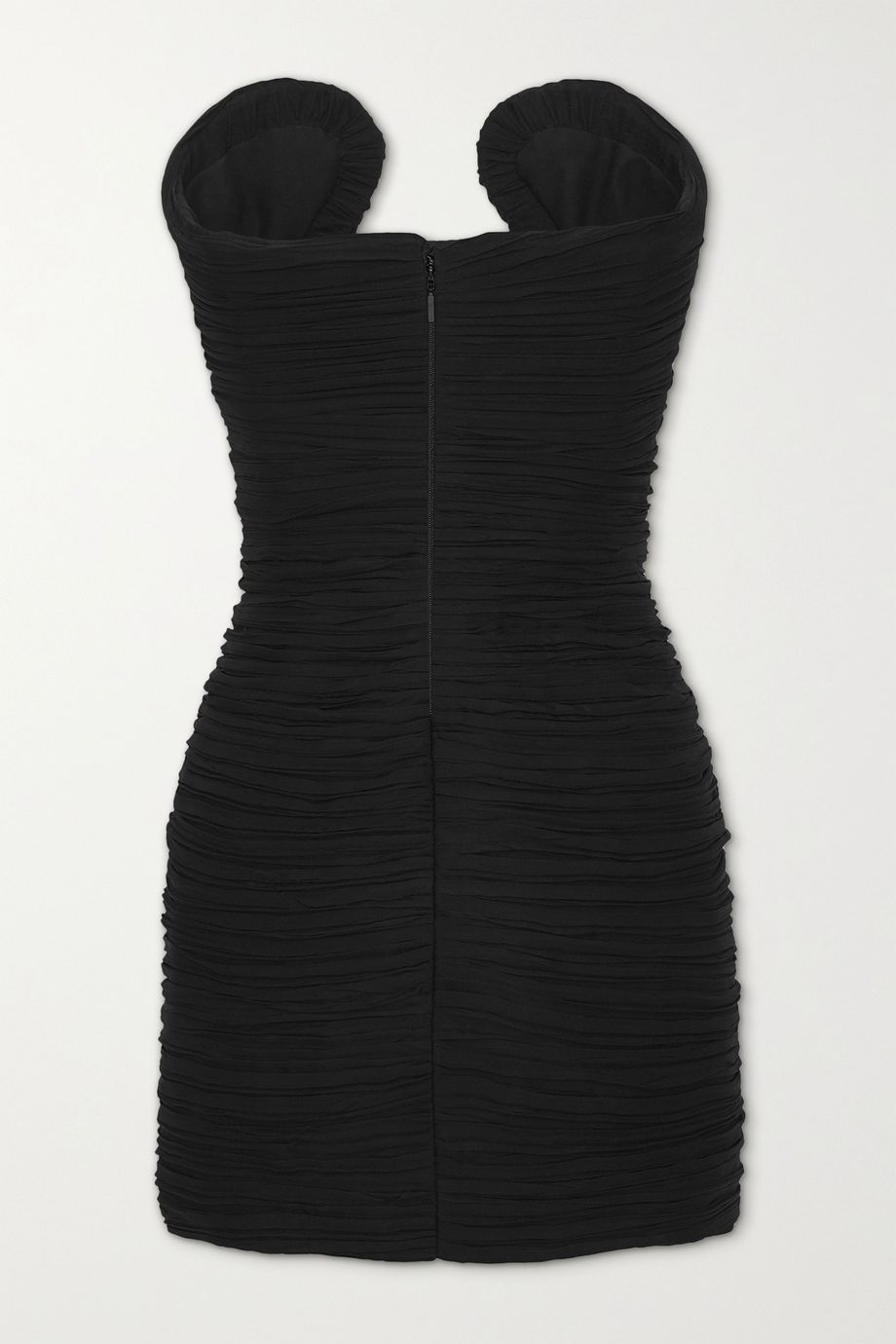SAINT LAURENT Strapless ruched silk-georgette mini dress