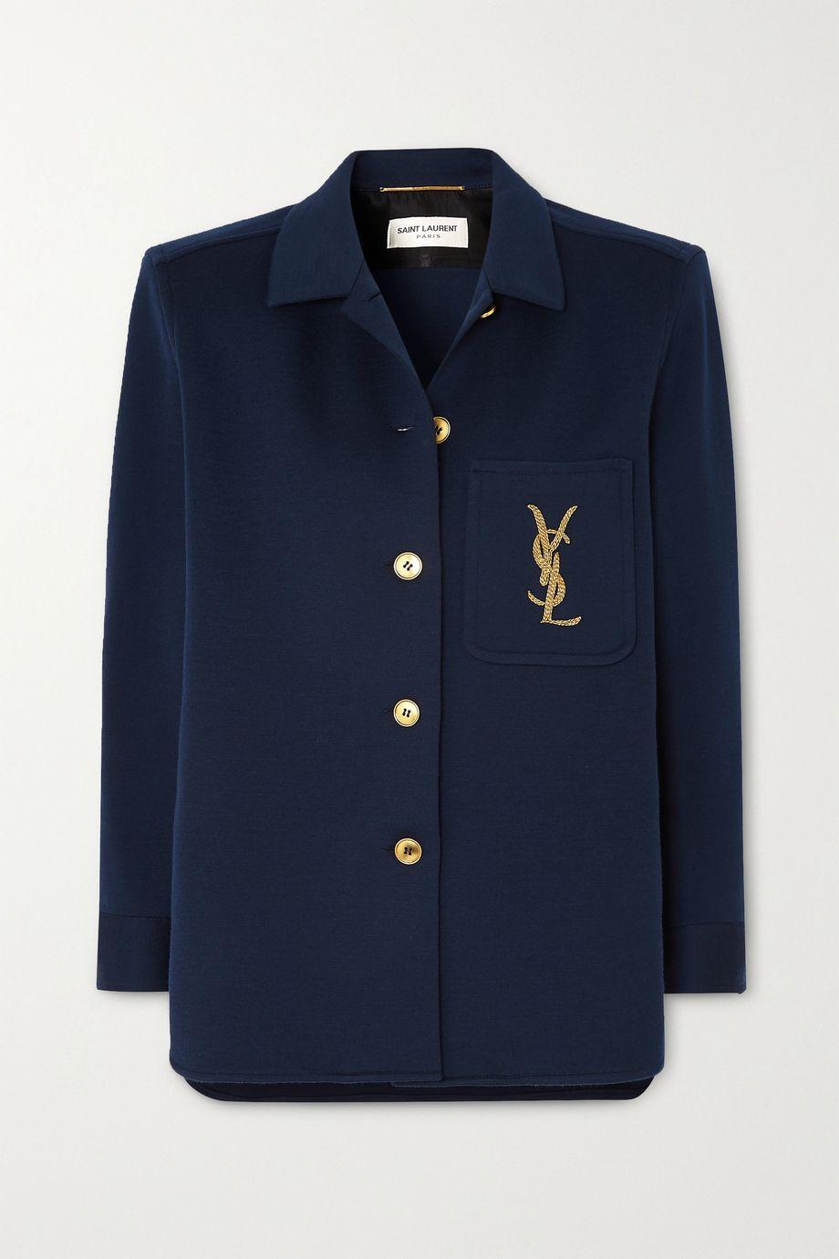SAINT LAURENT Embroidered wool-blend jacket