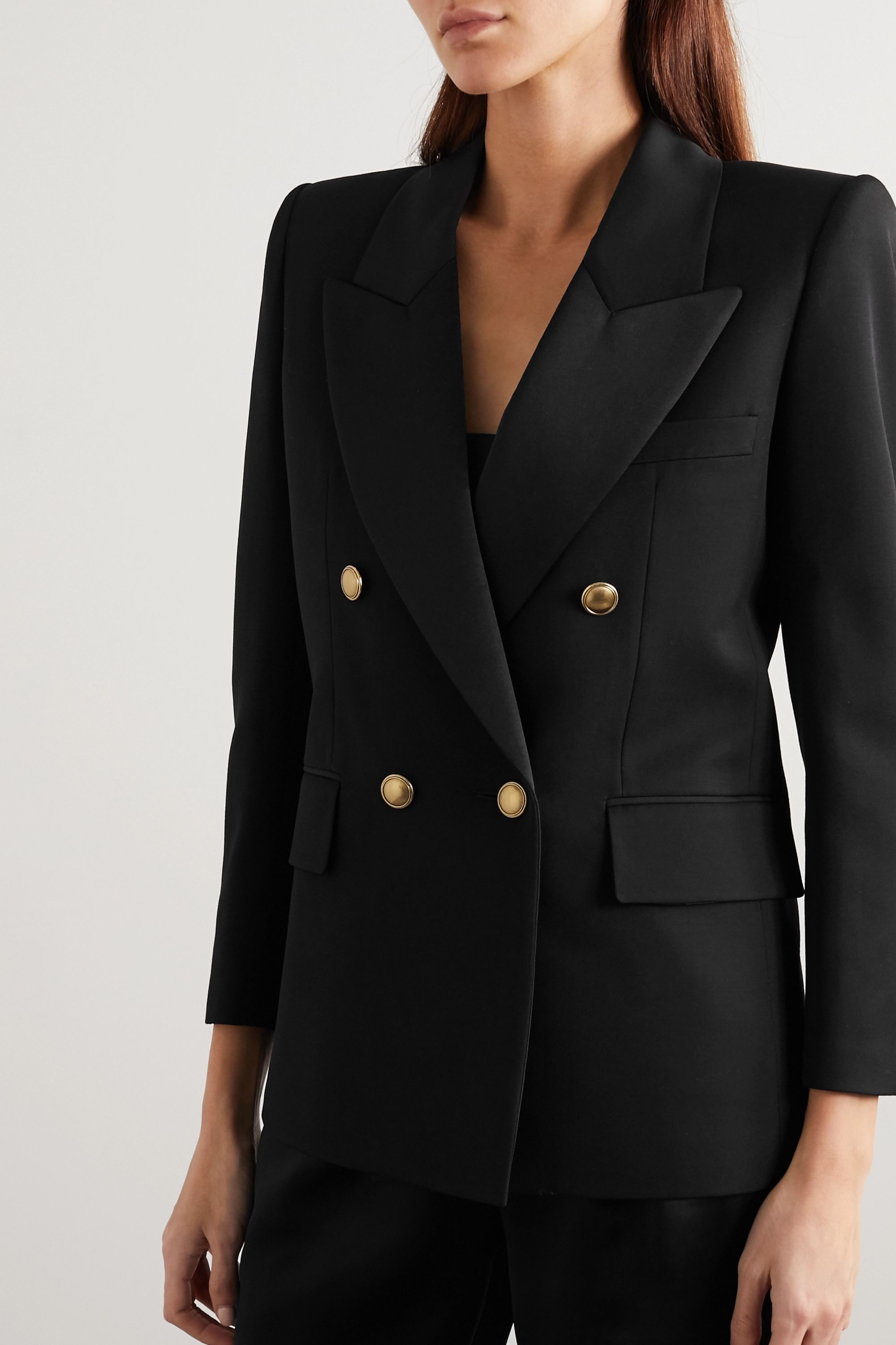 SAINT LAURENT Double-breasted satin-trimmed wool blazer