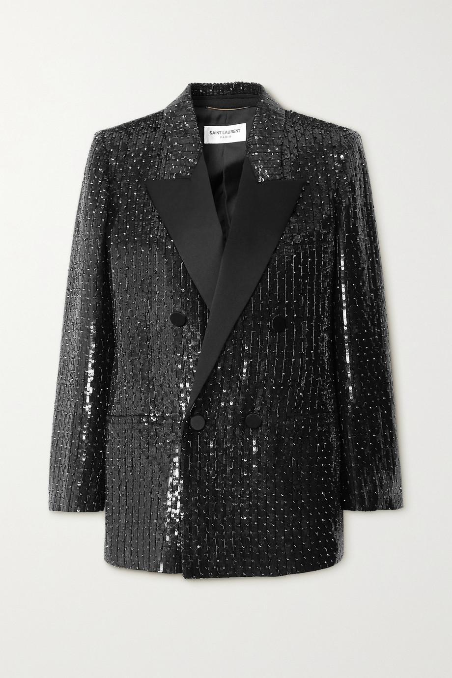 SAINT LAURENT Satin-trimmed sequined crepe blazer