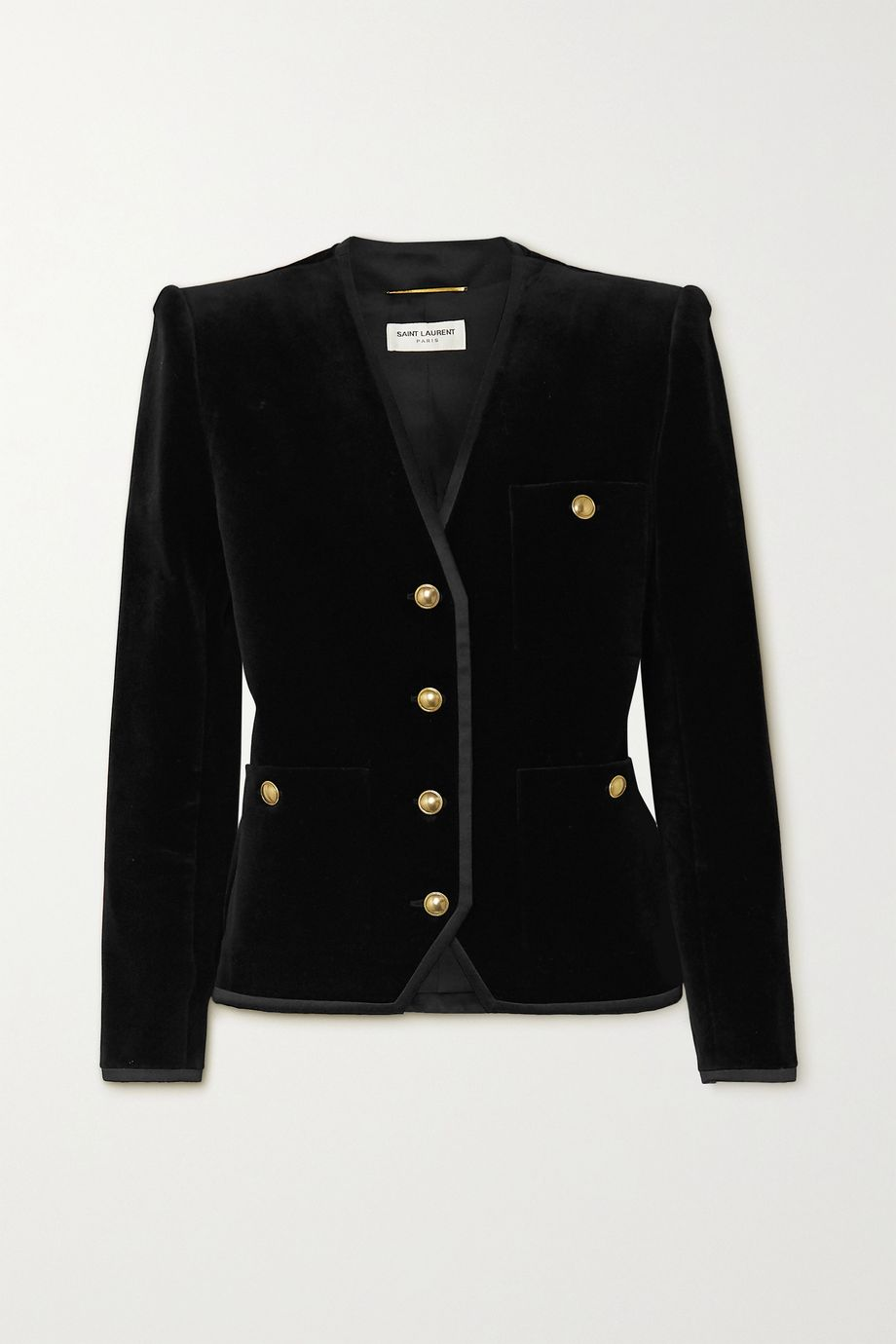 SAINT LAURENT Grosgrain-trimmed cotton-velvet blazer