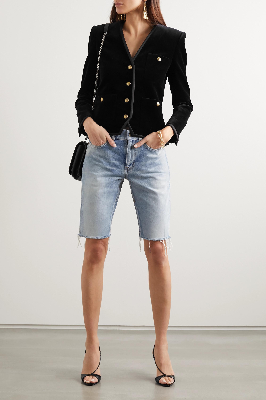 SAINT LAURENT Grosgrain-trimmed cotton-velvet blazer