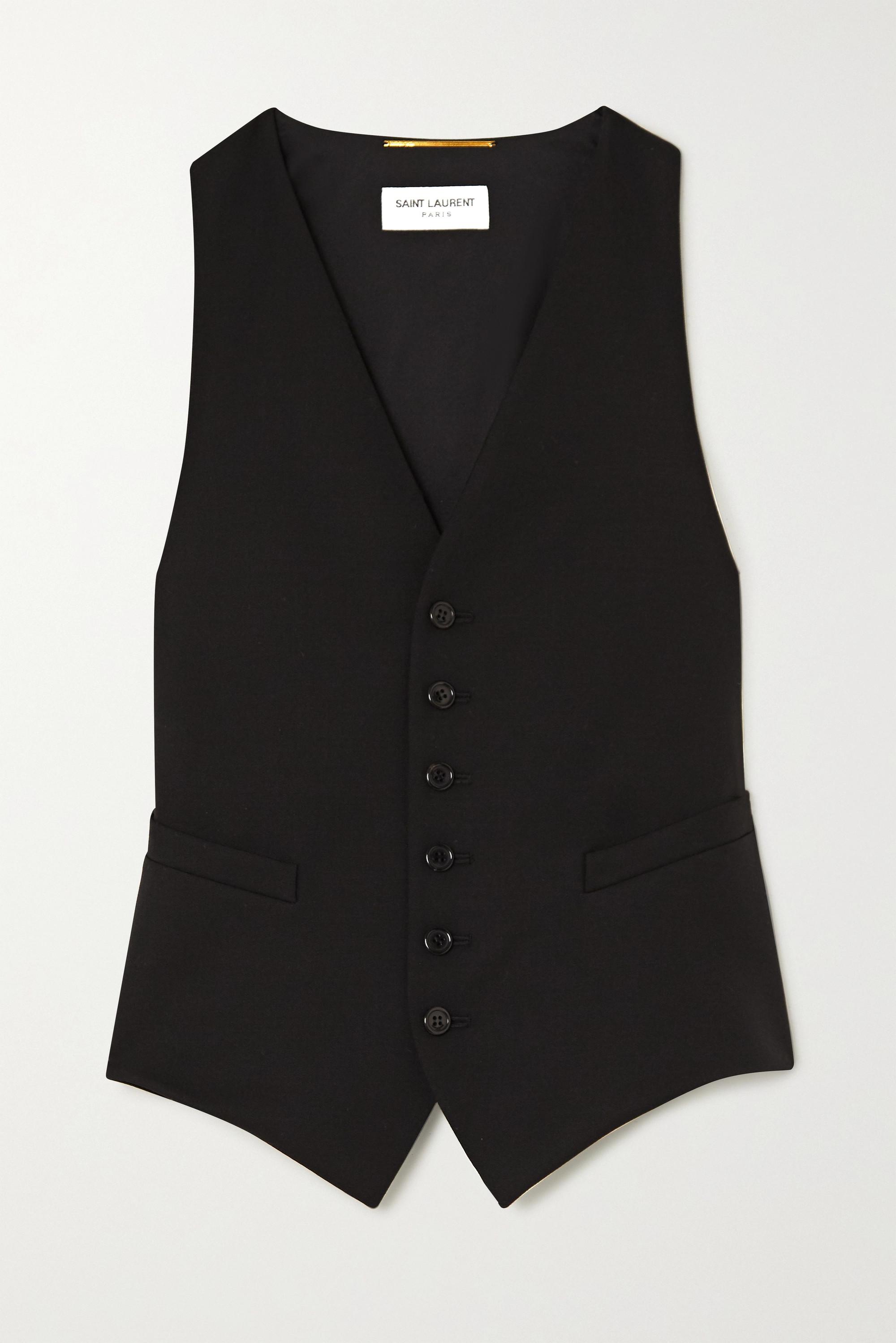 SAINT LAURENT Grain de poudre wool and silk-satin vest