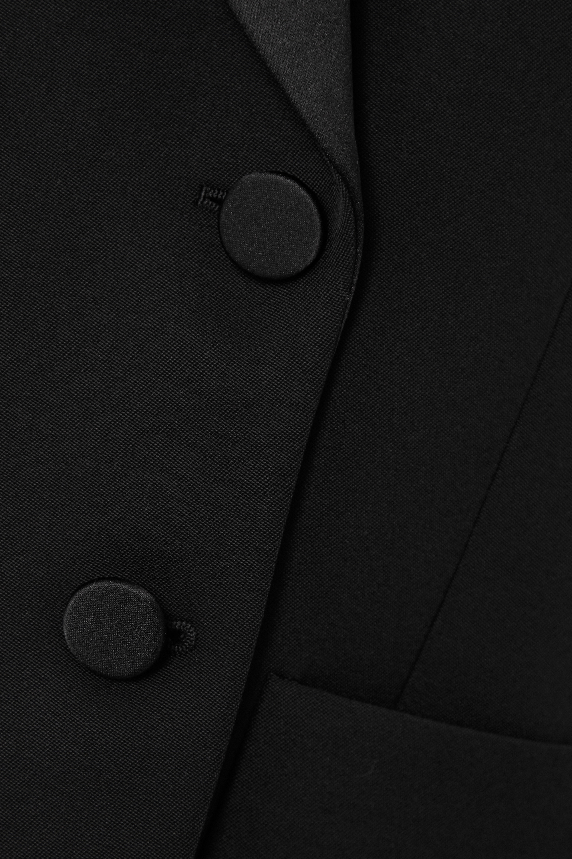 SAINT LAURENT Double-breasted satin-trimmed wool-twill blazer