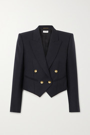 SAINT LAURENT Cropped double-breasted wool-twill blazer