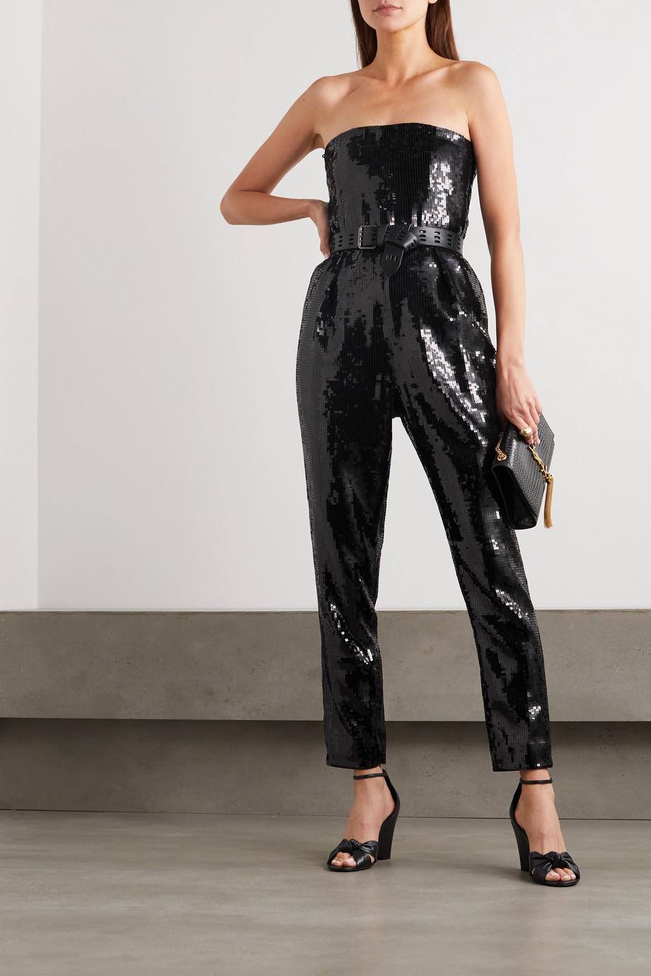 SAINT LAURENT Strapless sequined crepe jumpsuit