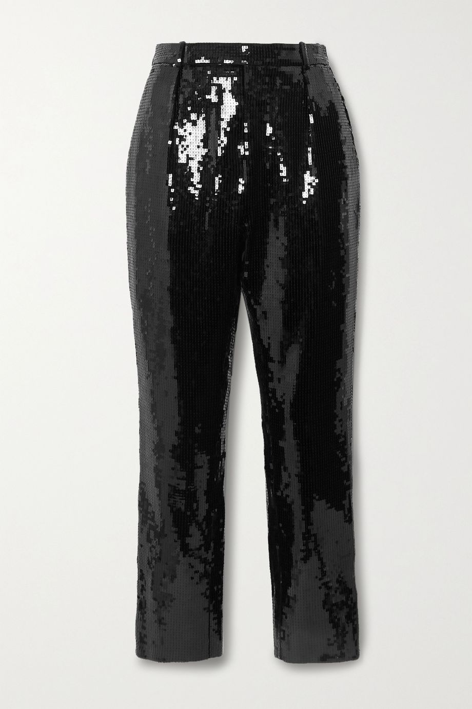 SAINT LAURENT Cropped sequined crepe slim-leg pants