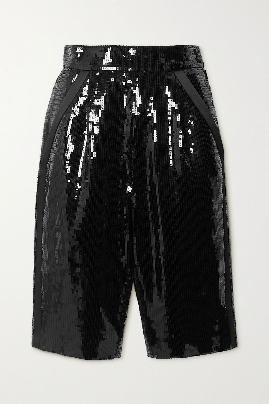 SAINT LAURENT Satin-trimmed sequined crepe shorts