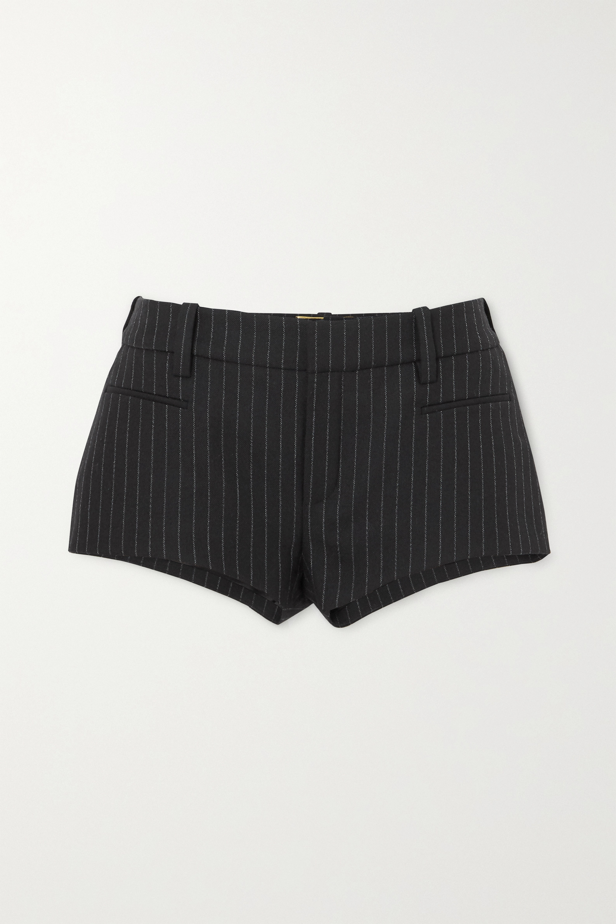 SAINT LAURENT Pinstriped wool-twill shorts