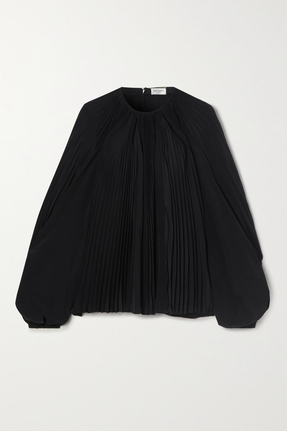 SAINT LAURENT Plissé silk-chiffon blouse