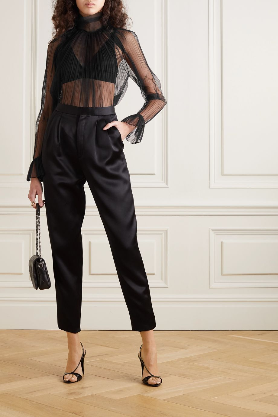 SAINT LAURENT Ruffled plissé silk-tulle turtleneck blouse