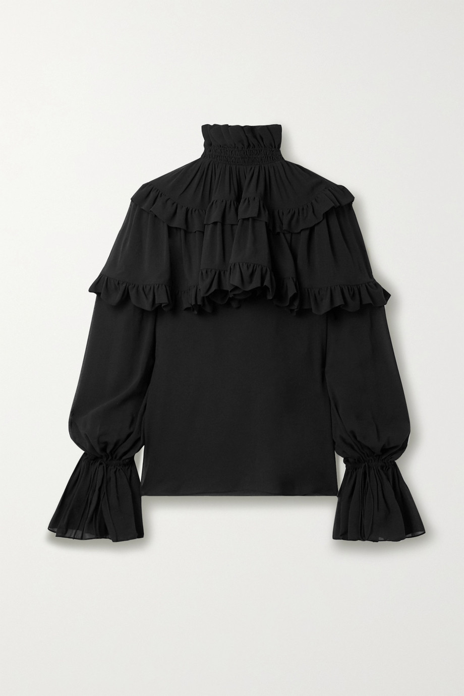 SAINT LAURENT Gestufte Bluse aus Seidenchiffon mit Rüschen