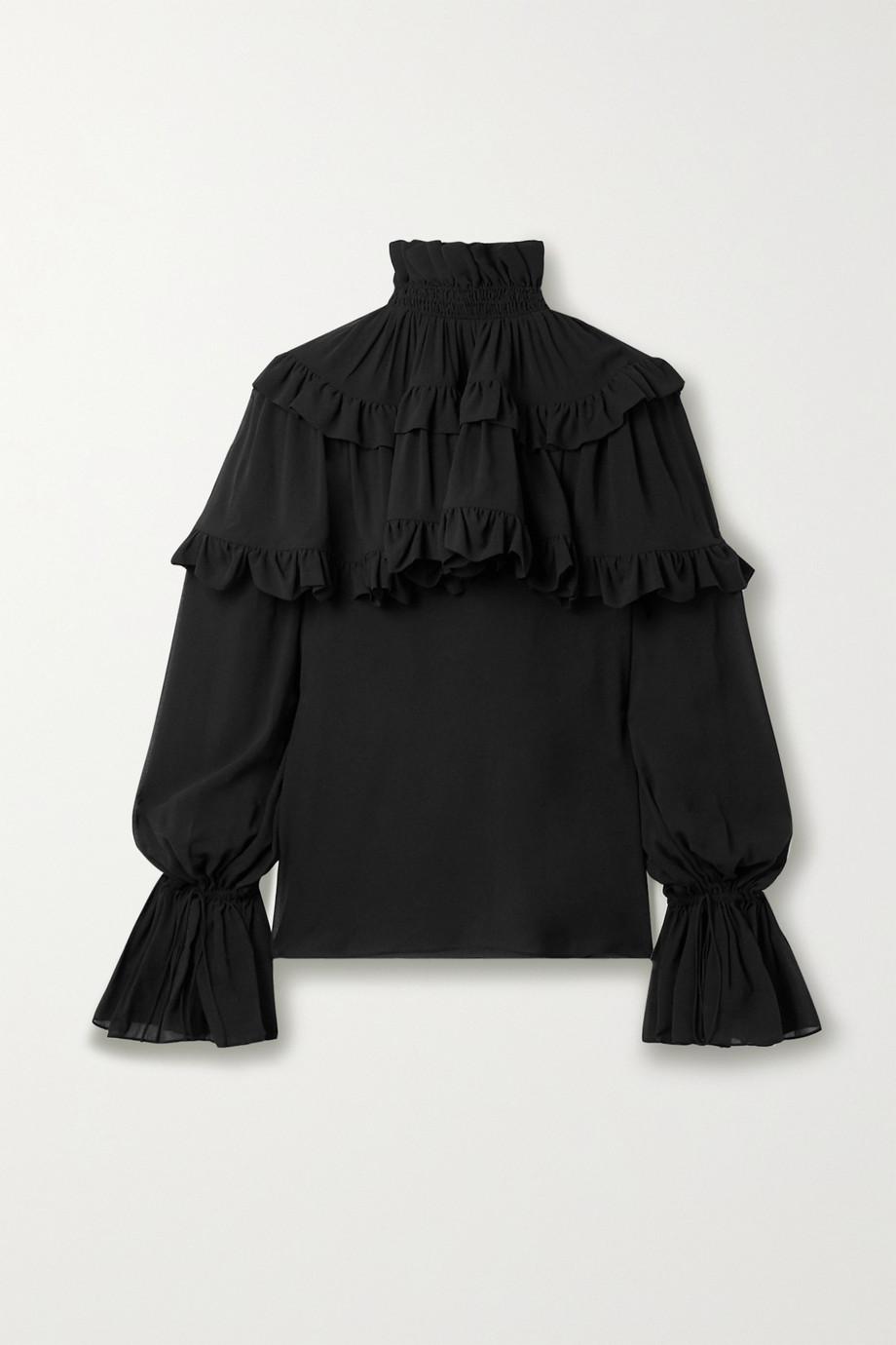 SAINT LAURENT Ruffled tiered silk-chiffon blouse
