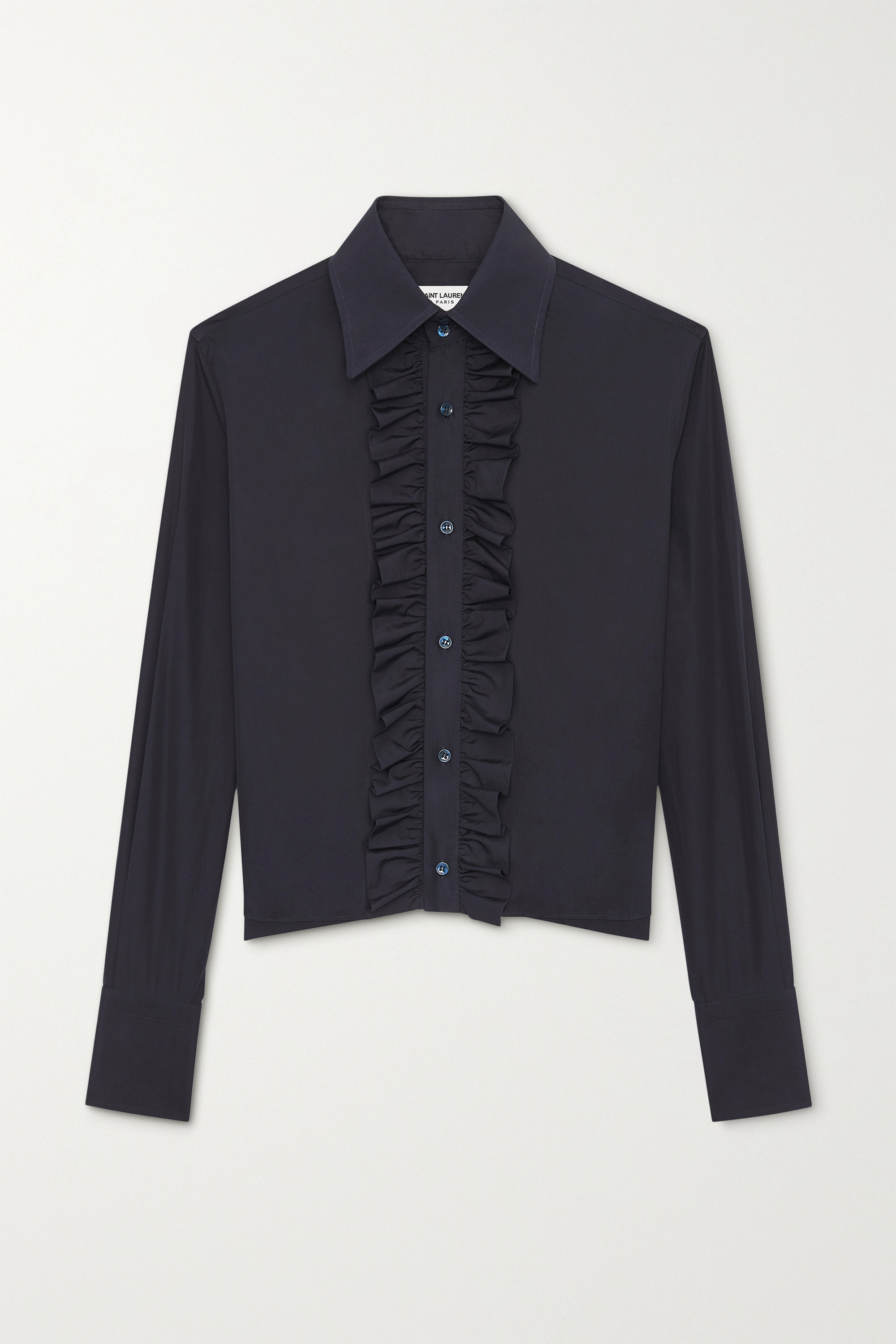 SAINT LAURENT Ruffled cotton-poplin shirt