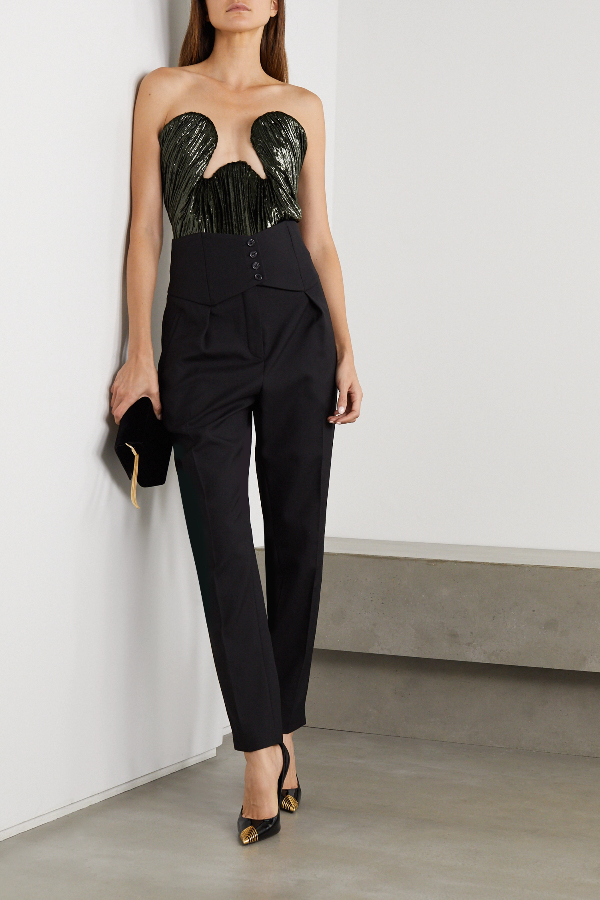 SAINT LAURENT Cutout crinkled metallic velvet and stretch-jersey bodysuit