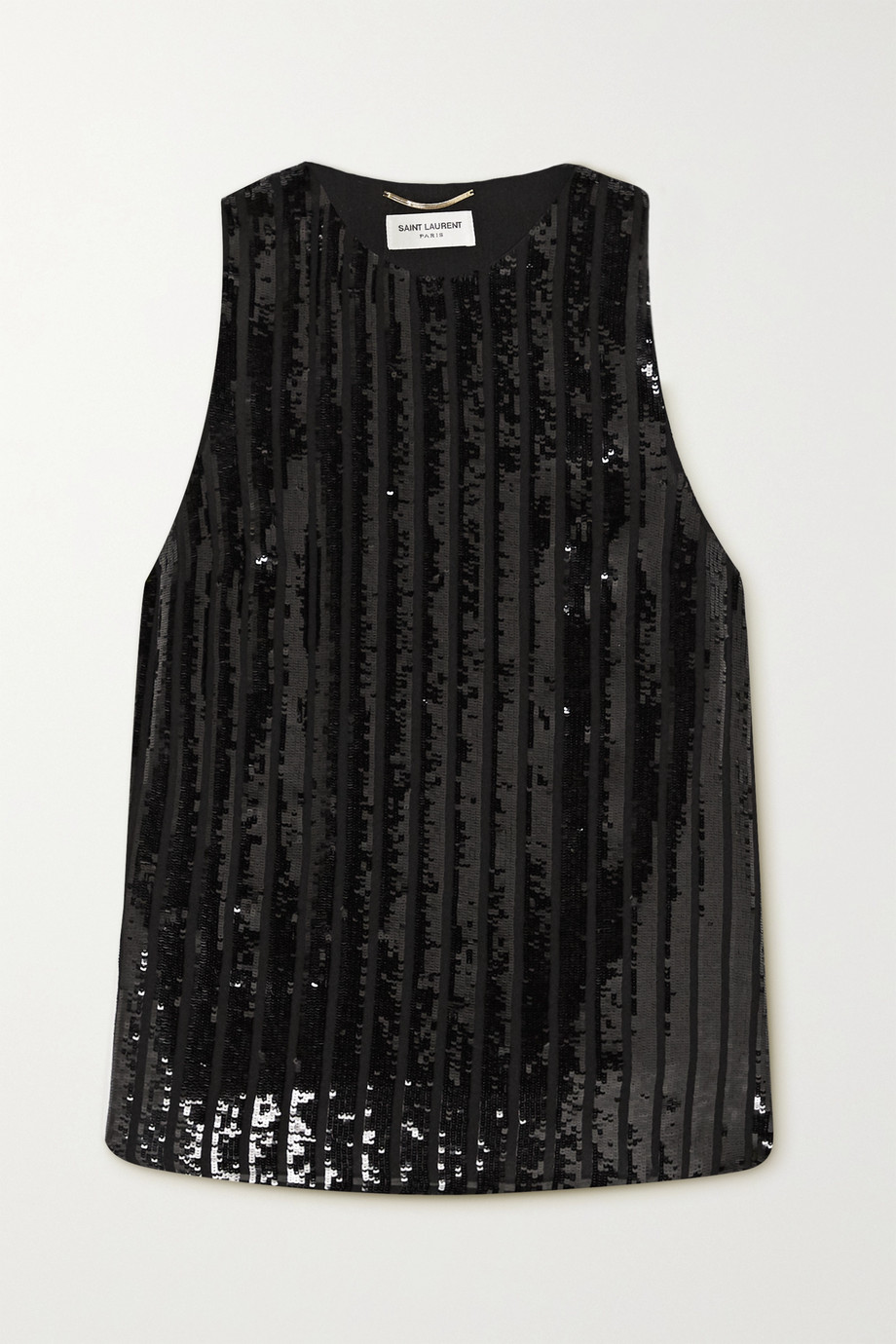 SAINT LAURENT Sequined silk-crepe tank